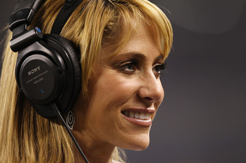 ARLINGTON, TX - FEBRUARY 06:  TV Azteca Correspondent Ines Sainz looks on during Super Bowl XLV between the Pittsburgh Steelers and the Green Bay Packers at Cowboys Stadium on February 6, 2011 in Arlington, Texas.  (Photo by Ronald Martinez/Getty Images)