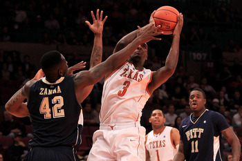 NEW YORK - NOVEMBER 19:  Jordan Hamilton #3 of the Texas Longhorns shoots around Talib Zanna #42 of the Pittsburgh Panthers during the Championship game of the 2k Sports Classic at Madison Square Garden on November 19, 2010 in New York, New York.  (Photo