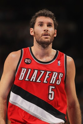 DENVER - DECEMBER 28:  Rudy Fernandez #5 of the Portland Trail Blazers looks on during a break in the action against the Denver Nuggets at Pepsi Center on December 28, 2010 in Denver, Colorado. The Nuggets defeated the Blazers 95-77. NOTE TO USER: User ex