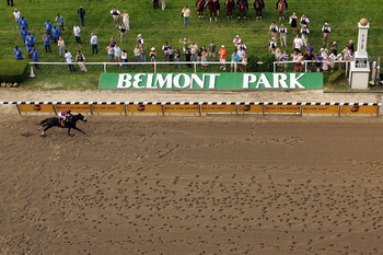 ELMONT, NY - JUNE 07:  Da'Tara ridden by jockey Alan Garcia comes down the final stretch on his way to winning the 140th running of the Belmont Stakes at Belmont Park on June 7, 2008 in Elmont, New York.  (Photo by Al Bello/Getty Images)