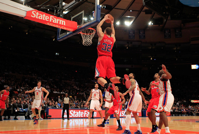NEW YORK, NY - FEBRUARY 09:  Blake Griffin #32 of the Los Angeles Clippers dunks the ball against the New York Knicks at Madison Square Garden on February 9, 2011 in New York City. NOTE TO USER: User expressly acknowledges and agrees that, by downloading