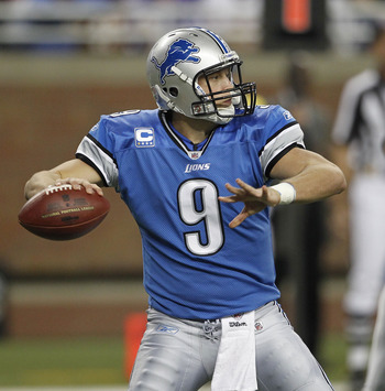 DETROIT - OCTOBER 31:  Matthew Stafford #9 of the Detroit Lions drops back to pass during the fourth quarter of the game against the Washington Redskins at Ford Field on October 31, 2010 in Detroit, Michigan. The Lions defeated the Redskins 37-25.  (Photo