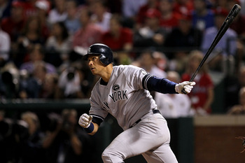 ARLINGTON, TX - OCTOBER 22:  Alex Rodriguez #13 of the New York Yankees bats against the Texas Rangers in Game Six of the ALCS during the 2010 MLB Playoffs at Rangers Ballpark in Arlington on October 22, 2010 in Arlington, Texas. The Rangers won 6-1. (Pho