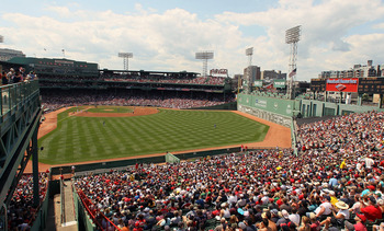 BOSTON - AUGUST 01:  A view from the bleacher seats in the second inning of the game between the Detroit Tigers and the Boston Red Sox on August 1, 2010 at Fenway Park in Boston, Massachusetts.  (Photo by Elsa/Getty Images)