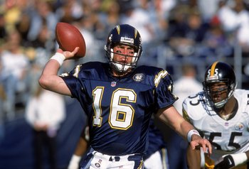 24 Dec 2000:   Quarterback Ryan Leaf #16 of the San Diego Chargers passes the ball during the game against the Pittsburgh Steelers at Qualcomm Stadium in San Diego, California. The Steelers defeated the Chargers 34-21.Mandatory Credit: Stephen Dunn  /Alls