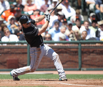 SAN FRANCISCO - JULY 29:  Dan Uggla #6 of the Florida Marlins bats against the San Francisco Giants during an MLB game at AT&T Park on July 29, 2010 in San Francisco, California.  (Photo by Jed Jacobsohn/Getty Images)