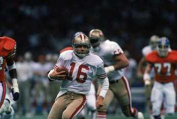 NEW ORLEANS - JANUARY 28:  Quarterback Joe Montana #16 of the San Francisco 49ers runs with the ball in Super Bowl XXIV against the Denver Broncos at Louisiana Superdome on January 28, 1990 in New Orleans, Louisiana.  The 49ers won 55-10.  (Photo by Georg