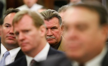 WASHINGTON - SEPTEMBER 18:  Pro Football Hall of Fame player and Coach Mike Ditka (2nd R) listens to testimony during a hearing of the Senate Commerce, Science and Transportation Committee on Capitol Hill September 18, 2007 in Washington, DC with NFL Comm
