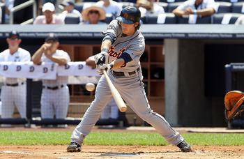 NEW YORK - AUGUST 19:  Will Rhymes #28 of the Detroit Tigers connects on a first inning base hit against the New York Yankees on August 19, 2010 at Yankee Stadium in the Bronx borough of New York City.  (Photo by Jim McIsaac/Getty Images)