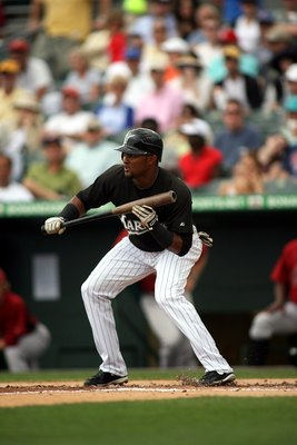 JUPITER, FL - MARCH 28:  Emilio Bonifacio #1 of the Florida Marlins bats against the Houston Astros on March 28, 2010 in Jupiter, Florida.  (Photo by Marc Serota/Getty Images)