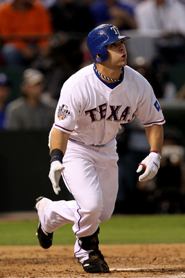 ARLINGTON, TX - OCTOBER 30:  Mitch Moreland #18 of the Texas Rangers hits a 3-run home run in the bottom of the second inning against the San Francisco Giants in Game Three of the 2010 MLB World Series at Rangers Ballpark in Arlington on October 30, 2010