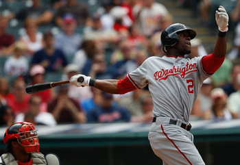 CLEVELAND - JUNE 13:  Roger Bernadina #2 of the Washington Nationals watches the ball as he hit a two run home run against the Cleveland Indians during the game on June 13, 2010 at Progressive Field in Cleveland, Ohio.  (Photo by Jared Wickerham/Getty Ima