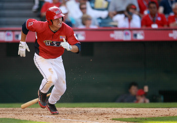 ANAHEIM, CA - JULY 11:  U.S. Futures All-Star Mike Trout #20 of the Los Angeles Angels of Anaheim runs to first during the 2010 XM All-Star Futures Game at Angel Stadium of Anaheim on July 11, 2010 in Anaheim, California.  (Photo by Jeff Gross/Getty Image