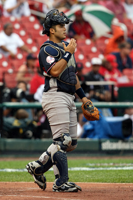 ST LOUIS, MO - JULY 12:  World Futures All-Star Jesus Montero of the New York Yankees walks out to the mound during the 2009 XM All-Star Futures Game at Busch Stadium on July 12, 2009 the in St. Louis, Missouri.  (Photo by Elsa/Getty Images)