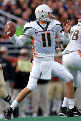 10 Nov 2001:  Quarterback Ken Dorsey #11 of the Miami Hurricanes throws his fourth interception of the day during the second half of Saturday's game between the Miami Hurricanes and the Boston College Eagles at Alumni Field in Boston, Massachussetts.  Dig