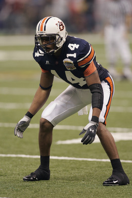NEW ORLEANS - JANUARY 3:  Defensive back Carlos Rogers #14 of the Auburn Tigers looks on while facing the Virginia Tech Hokies during the Nokia Sugar Bowl on January 3, 2005 at the Superdome in New Orleans, Louisiana.  Auburn defeated Virginia Tech 16-13.