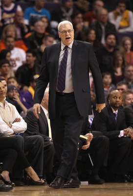 PHOENIX, AZ - JANUARY 05:  Head coach Phil Jackson of the Los Angeles Lakers during the NBA game against the Phoenix Suns at US Airways Center on January 5, 2011 in Phoenix, Arizona. The Lakers defeated the Suns 99-95.  NOTE TO USER: User expressly acknow