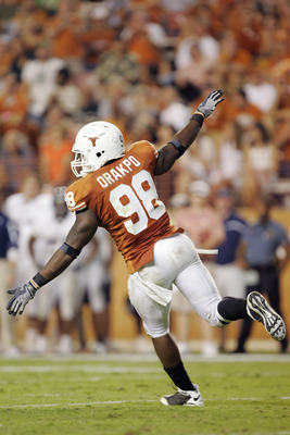 AUSTIN, TX - SEPTEMBER 20:  Defensive end Brian Orakpo #98 of the Texas Longhorns celebrates after sacking quarterback Chase Clement #16 of the Rice Owls in the fourth quarter on September 20, 2008 at Darrell K Royal-Texas Memorial Stadium in Austin, Texa