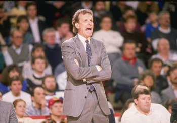 1988-1989:  Head coach Doug Collins of the Chicago Bulls yells from the sidelines during a game at Chicago Stadium in Chicago, Illinois. Mandatory Credit: Jonathan Daniel  /Allsport