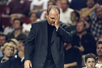 4 May 1998:  Seattle SuperSonics head coach George Karl looks down in disbelief during game one of the second round of the Western Conference Playoffs against the Los Angeles Lakers at the Key Arena in Seattle, Washington. The SuperSonics defeated the Lak