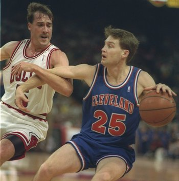 11 May 1993:  Guard Mark Price of the Cleveland Cavaliers moves the ball during a game against the Chicago Bulls at the United Center in Chicago, Illinois.  The Bulls won the game, 91-84. Mandatory Credit: Jonathan Daniel  /Allsport