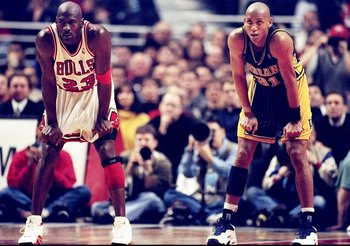 17 Feb 1998:  Guard Michael Jordan of the Chicago Bulls (left) in action against guard Reggie Miller of the Indiana Pacers.  The Bulls defeated the Pacers 105-97. Mandatory Credit: Jonathan Daniel  /Allsport