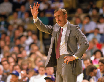 LOS ANGELES - 1990:  Head coach Rick Adelman of the Portland Trail Blazers reacts to the 1989-1990 NBA season game against the Los Angeles Lakers at the Great Western Forum in Los Angeles, California against the Los Angeles Lakers at the Great Western For