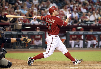 PHOENIX - AUGUST 08:  Mark Reynolds #27 of the Arizona Diamondbacks bats against the San Diego Padres during the Major League Baseball game at Chase Field on August 8, 2010 in Phoenix, Arizona. The Padres defeated the Diamondbacks 10-1.  (Photo by Christi
