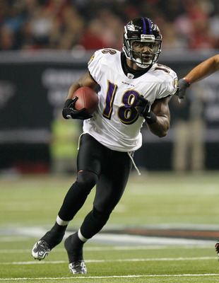 ATLANTA - NOVEMBER 11:  Donte' Stallworth #18 of the Baltimore Ravens against the Atlanta Falcons at Georgia Dome on November 11, 2010 in Atlanta, Georgia.  (Photo by Kevin C. Cox/Getty Images)