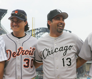 PITTSBURGH - JULY 11:  (L-R) American League All-Stars, right fielder Magglio Ordonez #30, manager Ozzie Guillen #13, and second baseman Jose Lopez #4, stand together before the 77th MLB All-Star Game against the National League on July 11, 2006 at PNC Pa