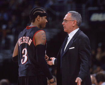 22 Jan 2002:  Gard Allen Iverson #3 of the Philadelphia 76ers talks to his head coach Larry Brown during the NBA game against the Washington Wizards at the MCI Center in Washington, DC. The 76ers defeated the Wizards 91-84.    NOTE TO USER:  User expressl