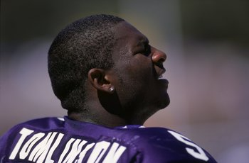16 Sep 2000:  A close up of La Dainian Tomlinson #5 of the Texas Christian University Horned Frogs as he looks on from the sidelines during the game against the Northwestern Wildcats at the Amon Carter Stadium in Forthworth, Texas. The Horned Frogs defeat
