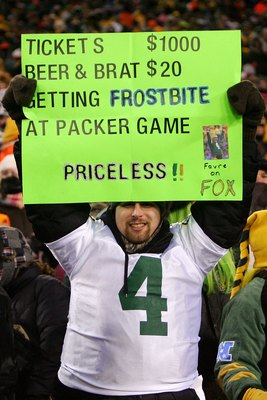 GREEN BAY, WI - JANUARY 20:  A fan of the Green Bay Packers holds up a sign during the NFC championship game against the New York Giants on January 20, 2008 at Lambeau Field in Green Bay, Wisconsin. The Giants defeated the Packers 23-20 in overtime to adv