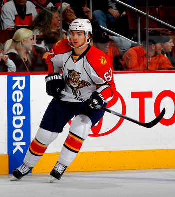 PHILADELPHIA, PA - DECEMBER 20:  Michael Frolik #67 of the Florida Panthers skates during a hockey game against the Philadelphia Flyers at the Wells Fargo Center on December 20, 2010 in Philadelphia, Pennsylvania.  (Photo by Paul Bereswill/Getty Images)