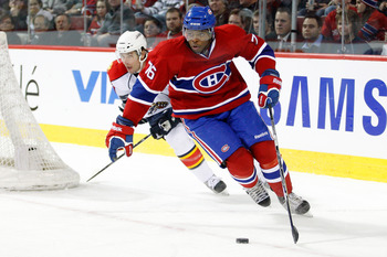 MONTREAL, CANADA - FEBRUARY 2:   P.K. Subban #76 of the Montreal Canadiens skates with the puck during the NHL game against the Florida Panthers at the Bell Centre on February 2, 2011 in Montreal, Quebec, Canada.  The Canadiens defeated the Panthers 3-2.