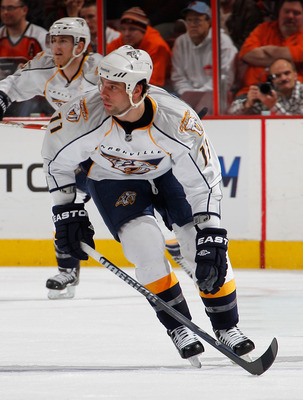 PHILADELPHIA, PA - FEBRUARY 03:  David Legwand #11 of the Nashville Predators skates during an NHL hockey game against the Philadelphia Flyers at the Wells Fargo Center on February 3, 2011 in Philadelphia, Pennsylvania.  (Photo by Paul Bereswill/Getty Ima