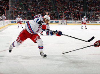 NEWARK, NJ - DECEMBER 29: Marion Gaborik #10 of the New York Rangers takes a shot during a game against the New Jersey Devils on December 29, 2010 at the Prudential Center in Newark, New Jersey. The Rangers won 3-1.  (Photo by Lou Capozzola/Getty Images)