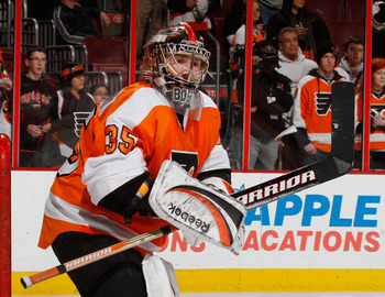 PHILADELPHIA, PA - FEBRUARY 03:  Goalie Sergei Bobrovsky #35 of the Philadelphia Flyers watches the puck in warmups before  an NHL hockey game against the Nashville Predators at the Wells Fargo Center on February 3, 2011 in Philadelphia, Pennsylvania.  (P