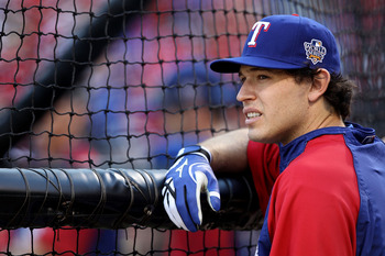 ARLINGTON, TX - OCTOBER 31:  Ian Kinsler #5 of the Texas Rangers looks on during batting practice against the San Francisco Giants in Game Four of the 2010 MLB World Series at Rangers Ballpark in Arlington on October 31, 2010 in Arlington, Texas.  (Photo