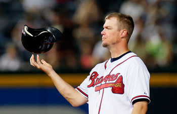 ATLANTA - JUNE 30:  Chipper Jones #10 of the Atlanta Braves twirls his helmet on his fingers during a pitching change by the Washington Nationals at Turner Field on June 30, 2010 in Atlanta, Georgia.  (Photo by Kevin C. Cox/Getty Images)