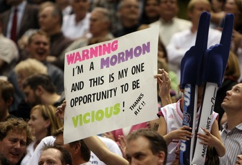 SALT LAKE CITY - MAY 02:  A Utah Jazz fan holds up sign during action against the Houston Rockets in Game Six of the Western Conference Quarterfinals during the 2008 NBA Playoffs at Energy Solutions Arena on May 2, 2008 in Salt Lake City. NOTE TO USER: Us