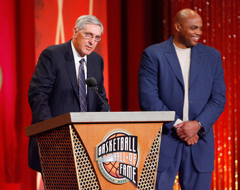 SPRINGFIELD, MA - SEPTEMBER 11:  Charles Barkley presents Coach Jerry Sloan to the Naismith Memorial Basketball Hall of Fame during an induction ceremony on September 11, 2009 in Springfield, Massachusetts. NOTE TO USER: User expressly acknowledges and ag