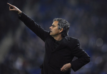 BARCELONA, SPAIN - FEBRUARY 13:  Jose Mourinho of Real Madrid reactsduring La Liga match between RCD Espanyol and Real Madrid at Estadi Cornella-El Prat on February 13, 2011 in Barcelona, Spain. Real Madrid won 0-1.  (Photo by David Ramos/Getty Images)
