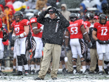 CINCINNATI, OH - DECEMBER 04: Butch Jones the Head Coach of the Cincinnati Bearcats watches play during the Big East Conference game against the Pittsburgh Panthers at Nippert Stadium on December 4, 2010 in Cincinnati, Ohio. Pittsburgh won 28-10.  (Photo