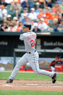 BALTIMORE - MAY 16:  Grady Sizemore #24 of the Cleveland Indians hits a single in the third inning against the Baltimore Orioles at Camden Yards on May 16, 2010 in Baltimore, Maryland.  (Photo by Greg Fiume/Getty Images)