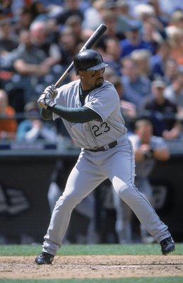 3 Jun 2001:  Greg Vaughn #23 of the Tampa Bay Devil Rays swings at the ball during the game against the Seattle Mariners at Safeco Field in Seattle, Washington. The Mariners defeated the Devil Rays 8-4.Mandatory Credit: Otto Greule Jr  /Allsport