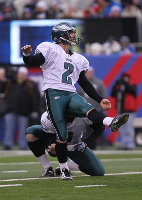 EAST RUTHERFORD, NJ - DECEMBER 19:  David Akers #2 of the Philadelphia Eagles kicks against the New York Giants at New Meadowlands Stadium on December 19, 2010 in East Rutherford, New Jersey.  (Photo by Nick Laham/Getty Images)