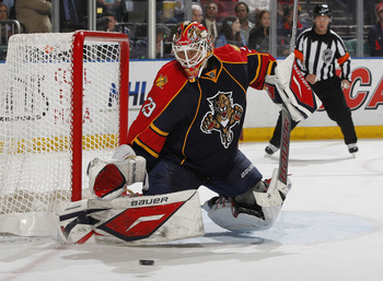 SUNRISE, FL - FEBRUARY 8: Goaltender Tomas Vokoun #29 of the Florida Panthers stops a shot by the St. Louis Blues on February 8, 2011 at the BankAtlantic Center in Sunrise, Florida. The Blues defeated the Panthers 2-1. (Photo by Joel Auerbach/Getty Images