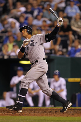 KANSAS CITY, MO - AUGUST 14:  Alex Rodriguez #13 of the New York Yankees hits his 3rd home run of the night during the 8th inning of the game against the Kansas City Royals on August 14, 2010 at Kauffman Stadium in Kansas City, Missouri.  (Photo by Jamie