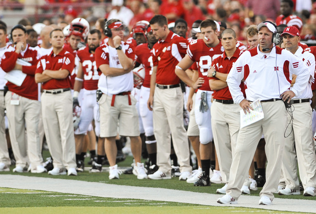 LINCOLN, NE - SEPTEMBER 04:  Head Coach Bo Pelini of the Nebraska Cornhuskers watches first half action of their game at against the Western Kentucky Hilltopers at Memorial Stadium on September 4, 2010 in Lincoln, Nebraska.  Nebraska defeated Western Kent